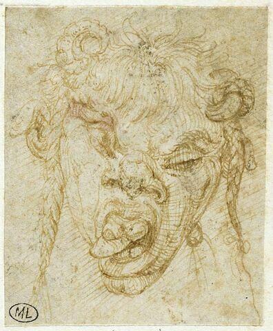 Tête de satyre grimaçant, avec deux petites cornes de bélier
