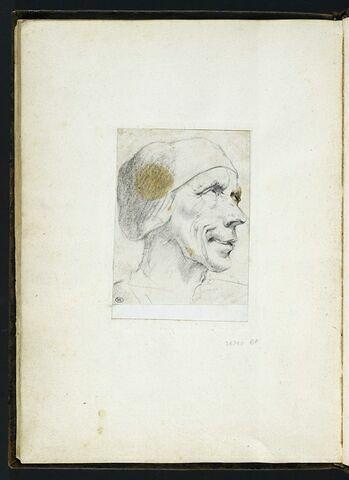 Tête d'homme de trois quarts à droite, coiffée d'une calotte