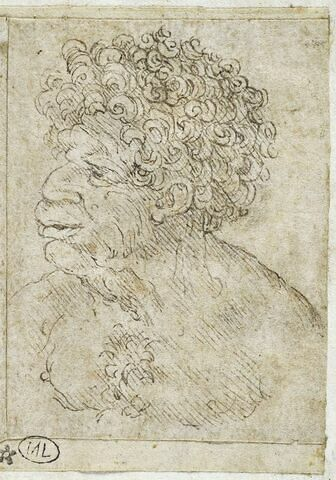 Homme noir en buste, de trois quarts à gauche, la poitrine nue