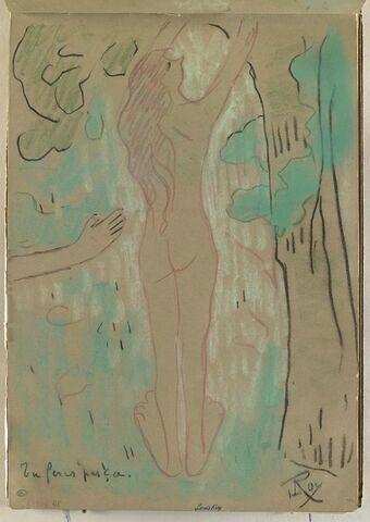 Femme nue, debout, levant le bras droit ; bras droit