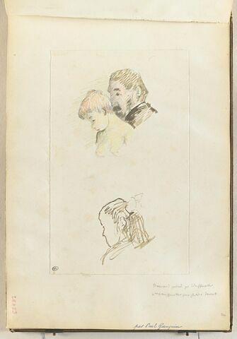 Femme en buste aux seins nus ; tête d'homme ; tête de petite fille
