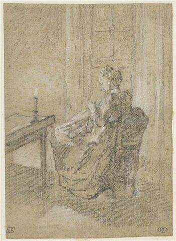 Femme assise sur une chaise, de dos, cousant
