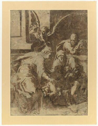 la Sainte famille avec sainte Elisabeth et le petit saint Jean et un ange