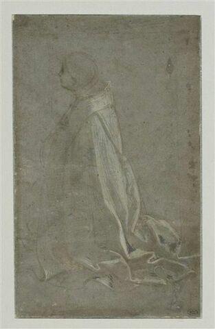 Religeux agenouillé, tourné ver la gauche : saint Louis de Toulouse