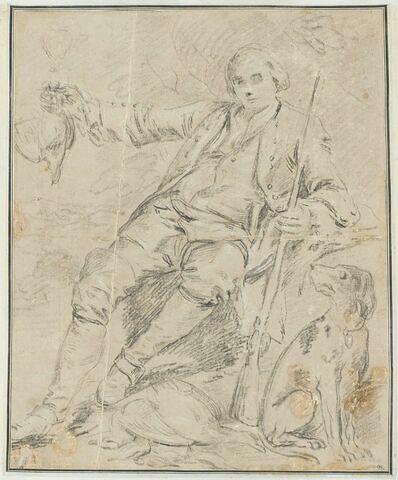 Chasseur assis, tenant son fusil à la main gauche, étendant le bras droit