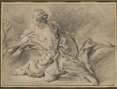 Femme couchée sur le côté, la tête vers la droite, avec un enfant