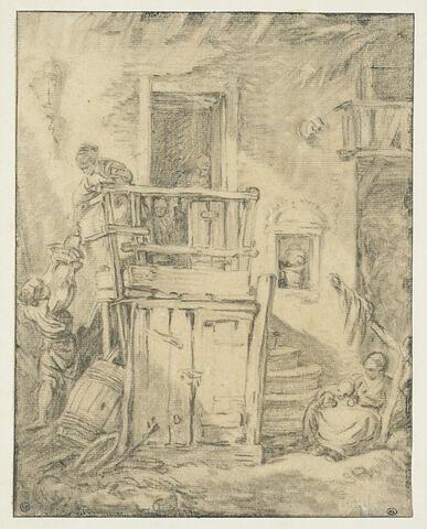 Devant d'une maison rustique précédée d'un escalier extérieur