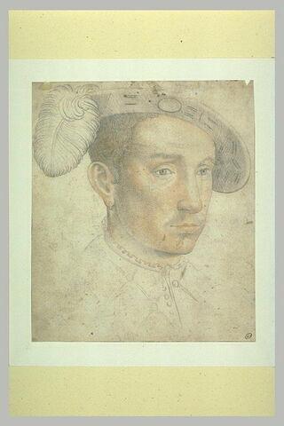 Tête de jeune homme, coiffé d'une toque à plume