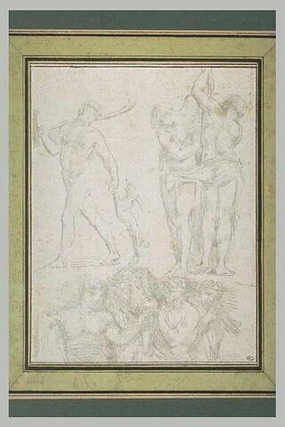 Etudes de statues et d'un bas-relief