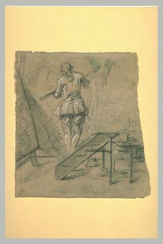Peintre dans son atelier, vu de dos, peignant sur une grande toile