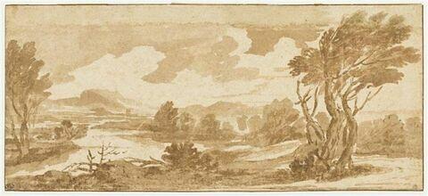 Rivière bordée d'arbres dans un paysage montagneux