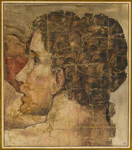 Tête de femme, de profil, vers la gauche