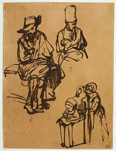 Homme assis, homme en buste coiffé d'un bonnet, et deux enfants