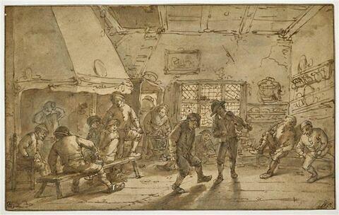 Un paysan dansant et un violoneux, dans une salle d'auberge