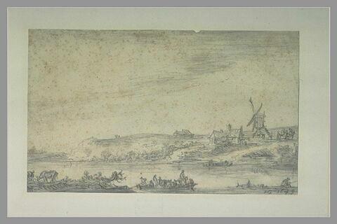 Barques sur une rivière, avec un moulin et des habitations sur la berge