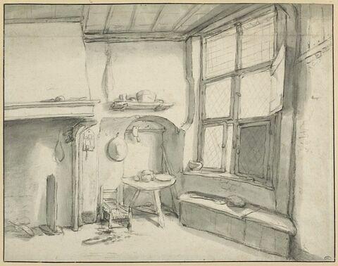Intérieur d'une chambre éclairée par une fenêtre à droite