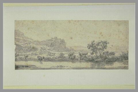 Paysage : une rivière ; homme et vaches au bord de l'eau