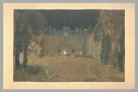 Façade du château du Bréau, effet de nuit