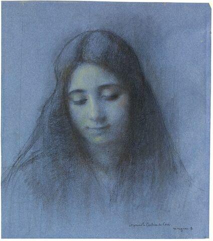 Portrait d'une femme au long cheveux