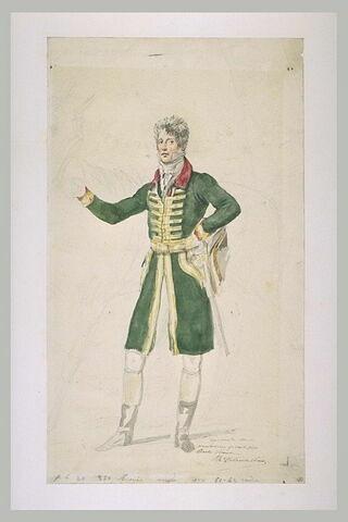 Piqueur, en habit vert à collet rouge, la main gauche appuyée sur sa hanche
