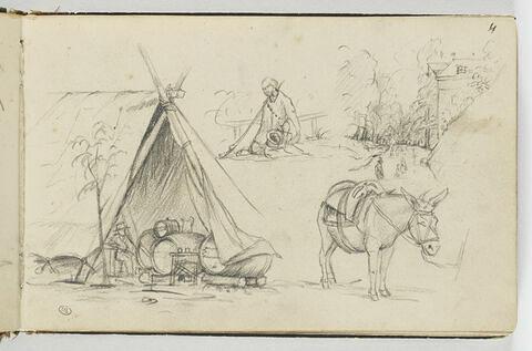 Etudes d'une tente abritant des tonneaux, d'une figure, d'un âne ...