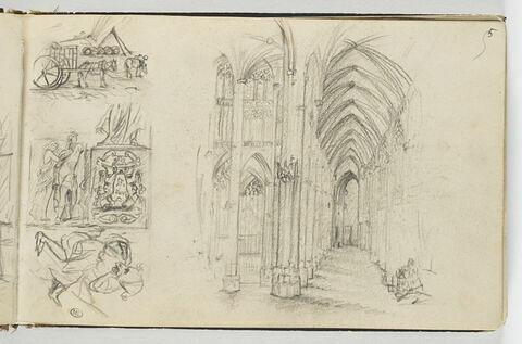 Etudes d'un intérieur d'église et trois autres compositions