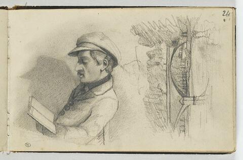 Homme assis, lisant ; paysage avec un pont