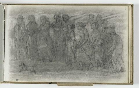 Paysans et soldats marchant vers la gauche