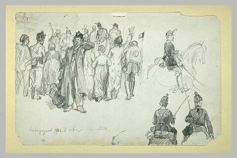 Groupe d'hommes et de femmes vus de dos, suivant des soldats vus de dos