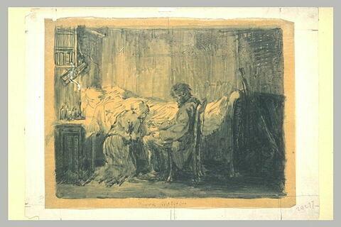 Homme assis et une femme agenouillée devant un lit