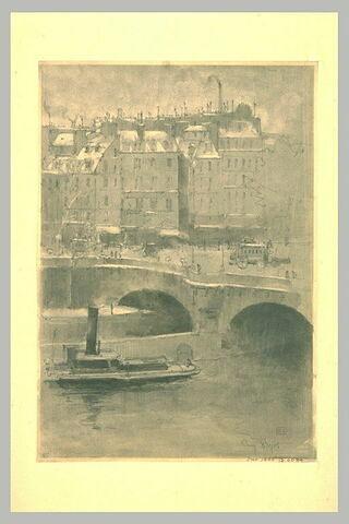 Vue partielle du Pont-Neuf, avec un bateau au premier plan