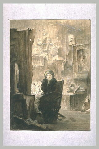 Femme peignant dans son atelier