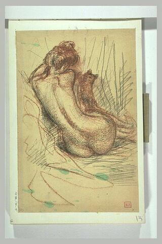 Femme nue, assise, de dos, jouant avec un chat