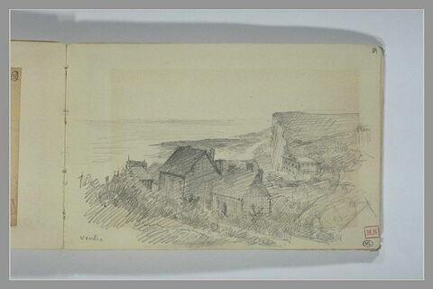 Maisons à flanc de colline avec une falaise dans le fond: Veules