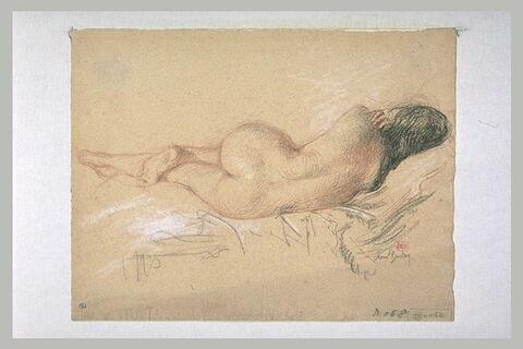 Femme nue, de dos, étendue sur le côté droit
