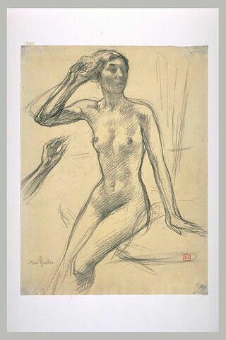 Femme nue, assise, se mettant une fleur dans les cheveux