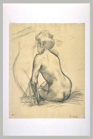 Femme nue, assise, de dos