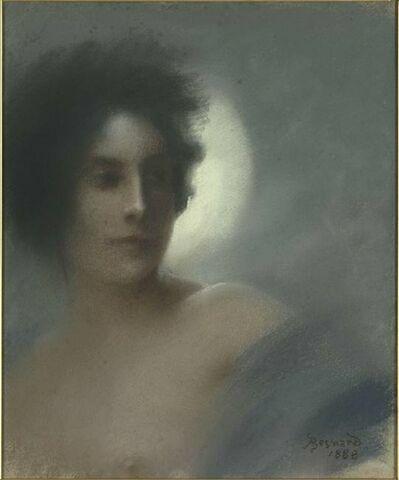 Femme vue en buste, la tête se détachant sur un croissant de lune