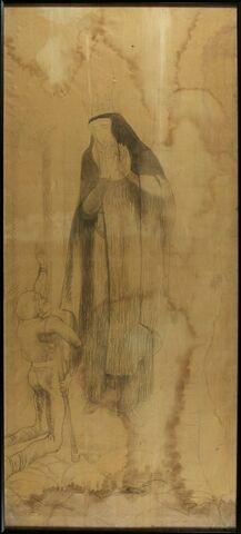 Sainte couronnée, les mains jointes, regardant un infirme à genoux