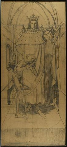 Saint Louis tenant la couronne d'épines et caressant un infirme
