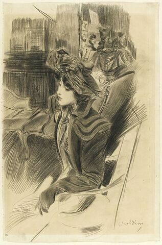 Jeune femme assise dans un intérieur près d'une liseuse