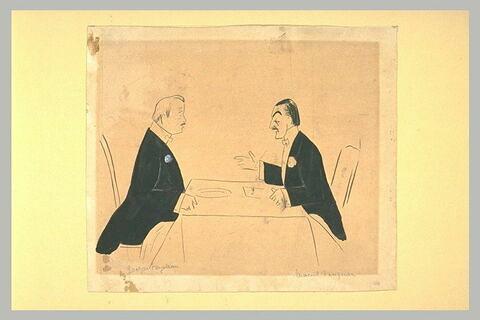 Deux hommes en habit, attablés, face à face