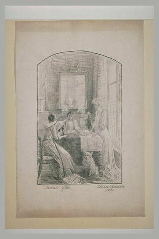 Trois jeunes filles dans un intérieur, dont deux sont assises à une table