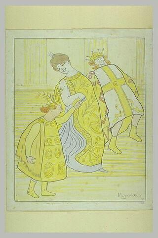 'La Belle Hélène' descendant un escalier entre Ménélas et Pâris