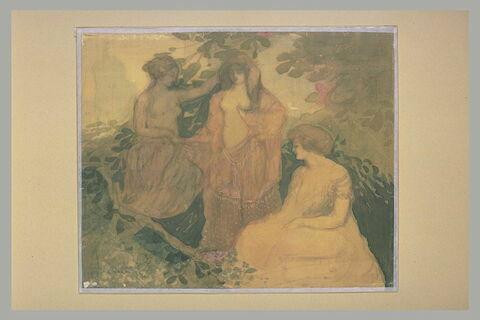 Trois jeunes femmes dans un paysage