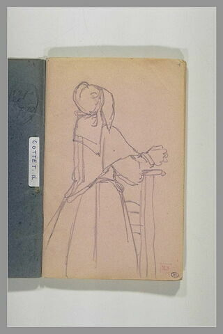 Femme agenouillée sur un Prie-Dieu, en costume de bretonne