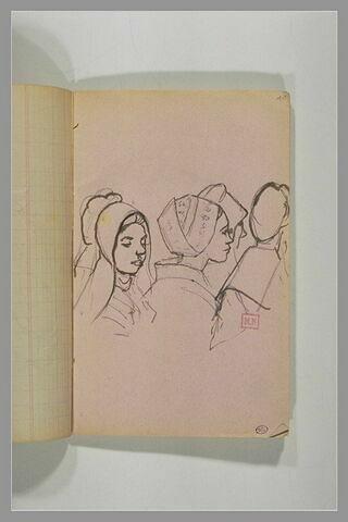 Etudes de têtes de quatre jeunes filles, en costume breton