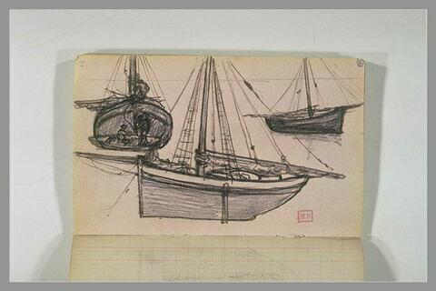 Trois études de bateaux à voiles