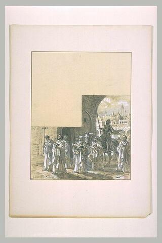 Prêtre et moines accompagnant le chevalier chrétien Patrice