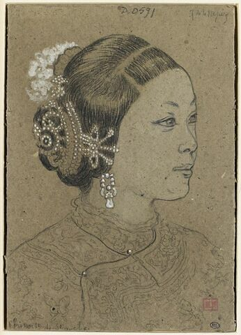 Tête de chinoise de Shanghaï, coiffée d'un chignon retenu dans une résille